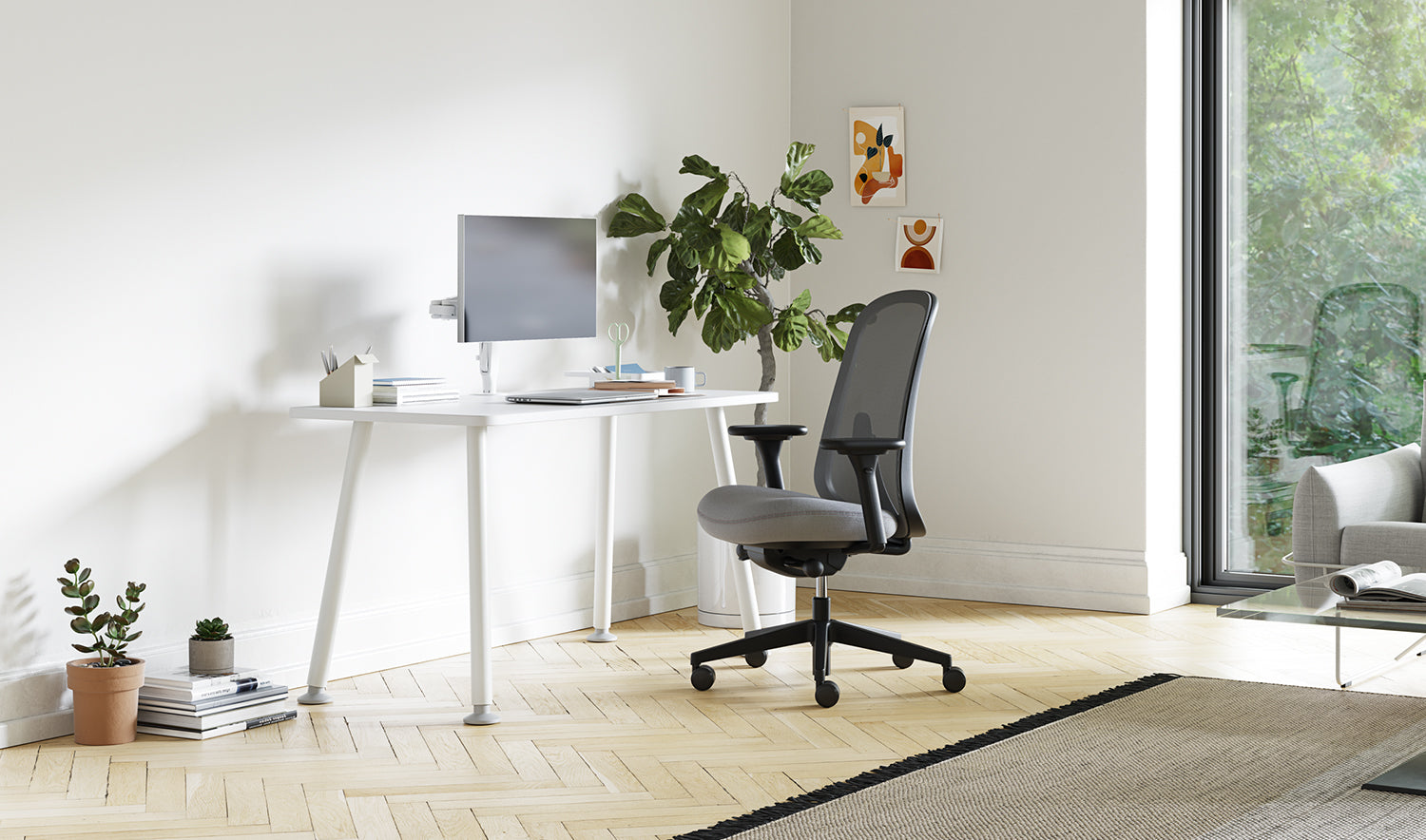 Grey lino chair in a home office alongside a white Memo desk
