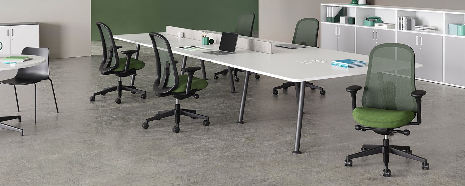 Green Lino chair in an office environment