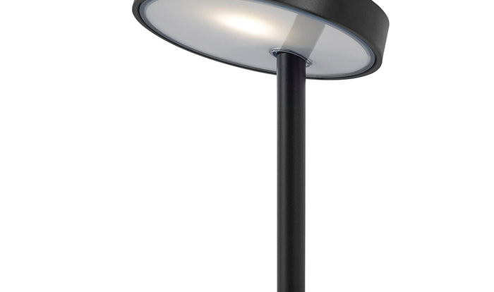 The angled head on a black Lolly personal light