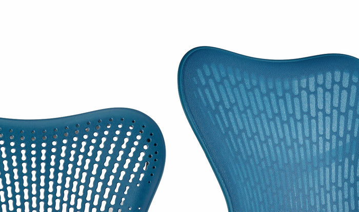 Close up of butterfly and triflex backs on Mirra 2 chairs