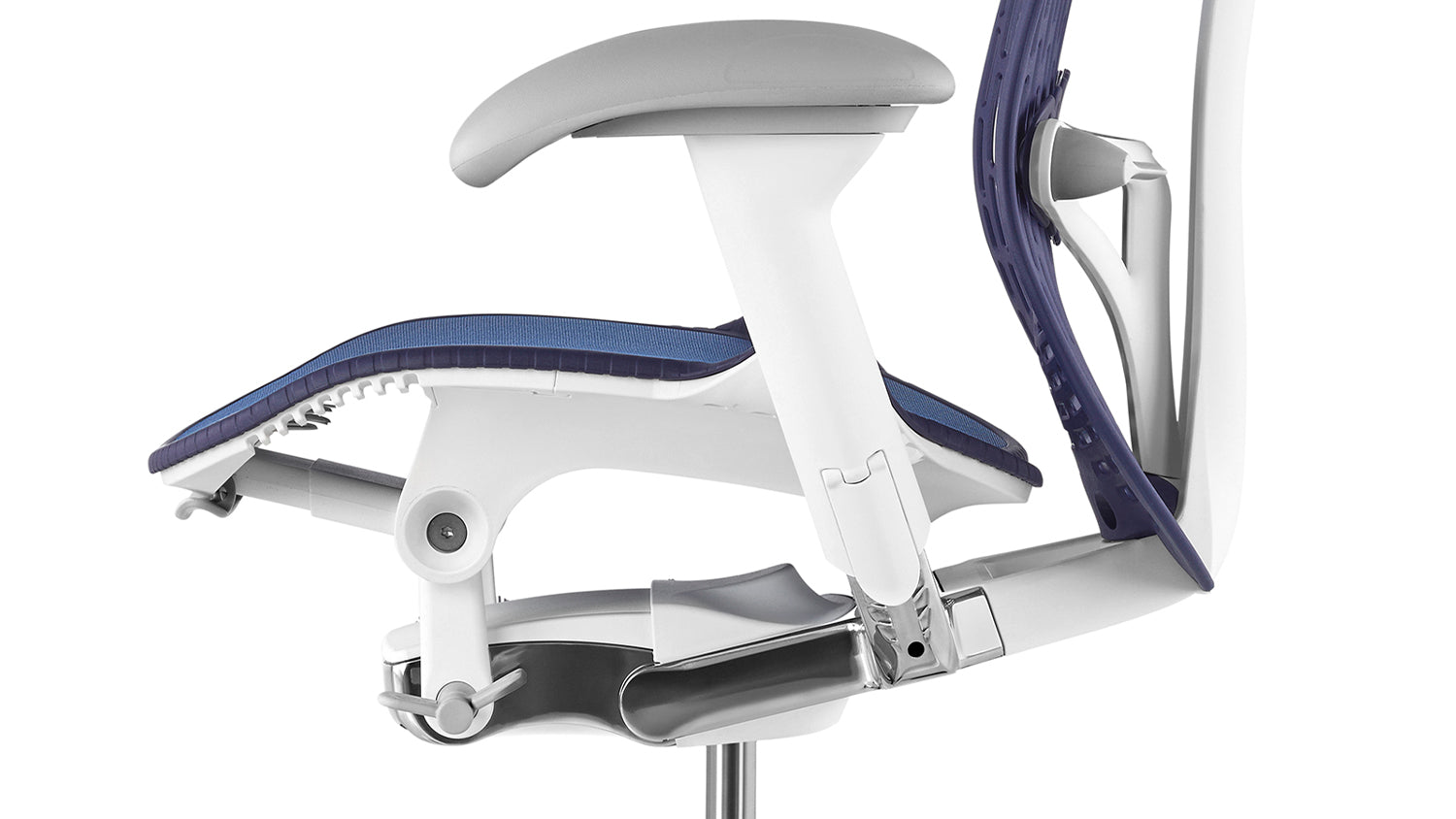 Side view of a blue and white Mirra 2 chair