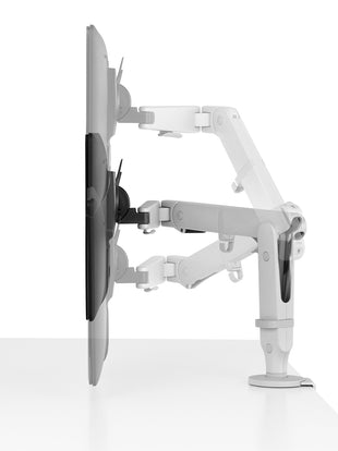 Illustration showing range of movement of Ollin monitor arm