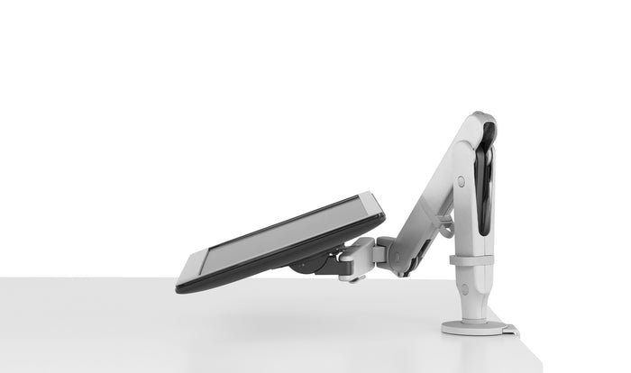 Ollin monitor arm showing flexible capabilities