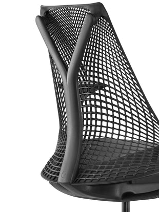 Detailed view of the back of a black Sayl chair