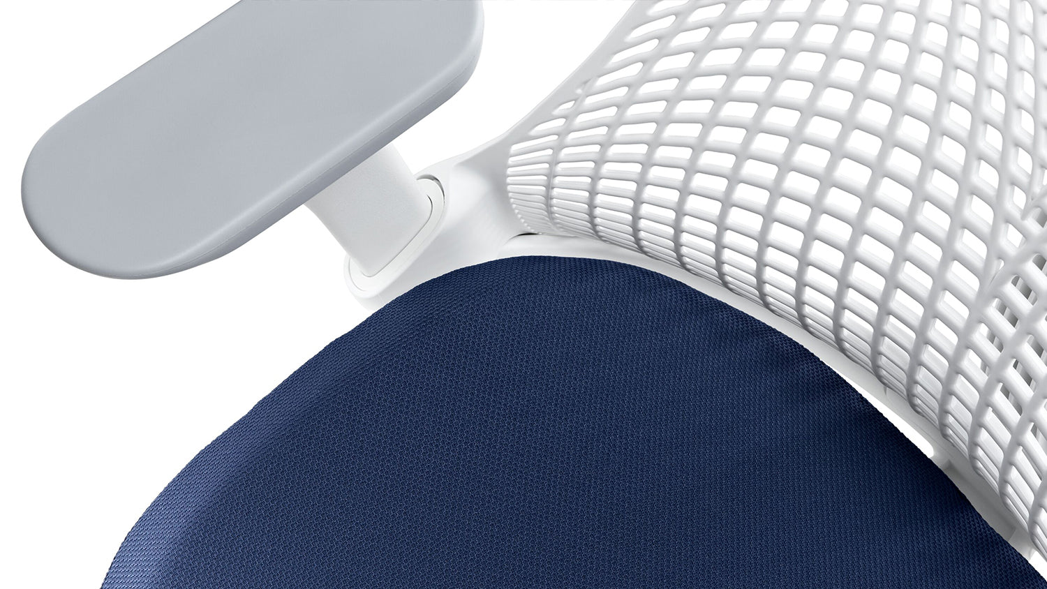 Detailed view of the seat, back and arms of a Sayl office chair