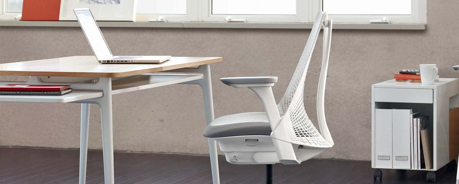 White & grey Sayl chair in a light office environment