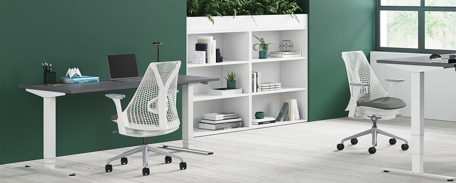 A white Sayl chair in a home office.