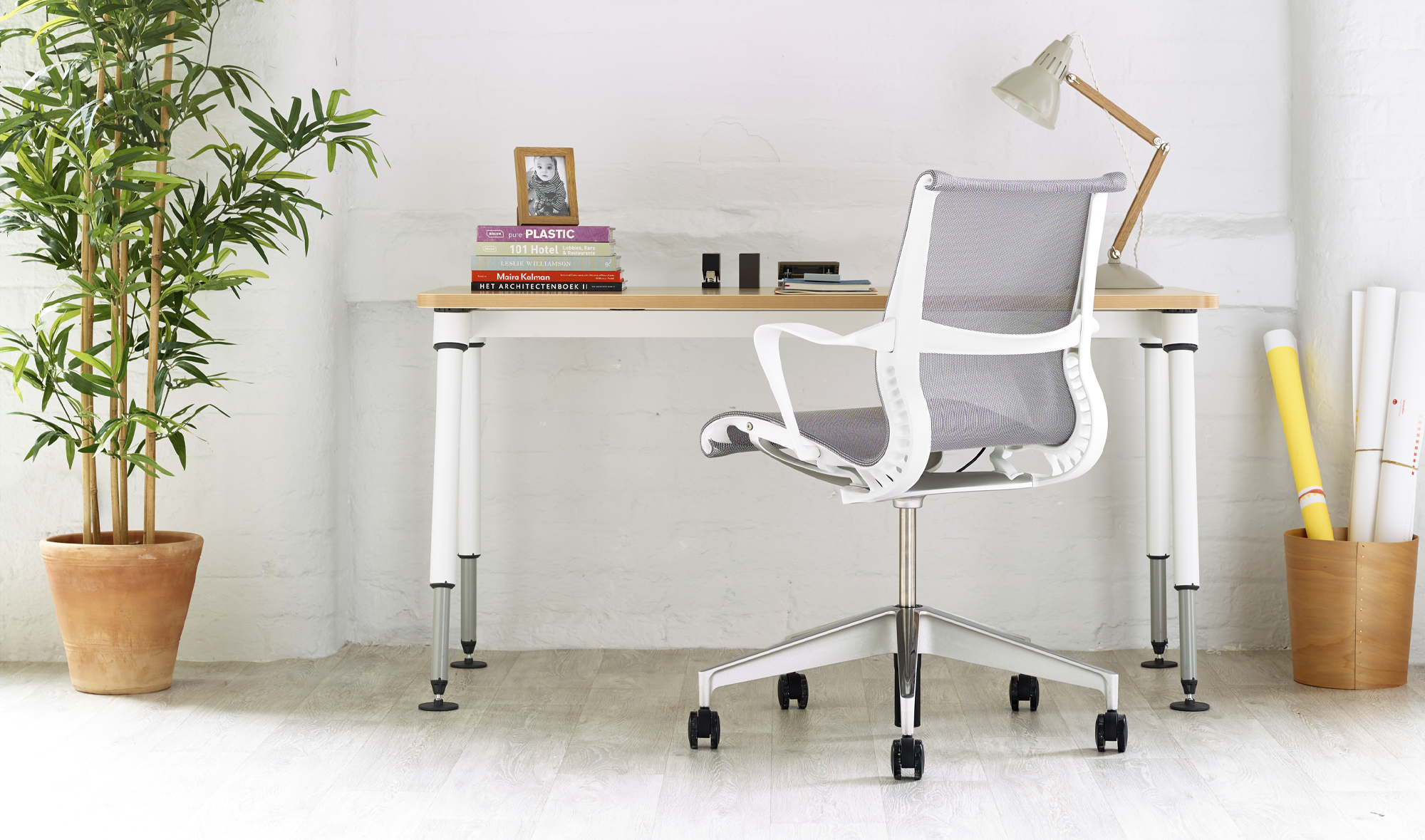 Grey Setu chair in a home office environment