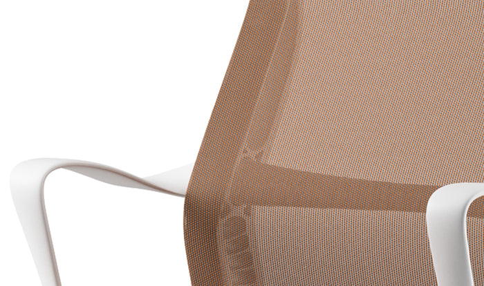 Detailed view of the frame and fabric used on a Setu chair
