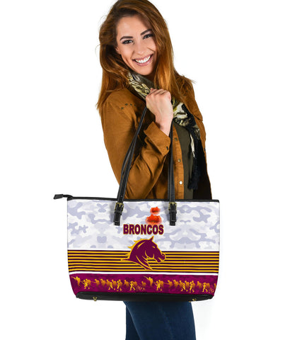 Brisbane Broncos Large Leather Tote Anzac Day Simple Style - White