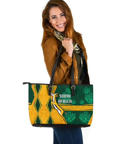 South Africa Large Leather Tote Springboks Rugby Be Fancy