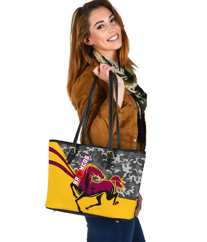 Brisbane Broncos Small Leather Tote Anzac Day - Camo Style TH12
