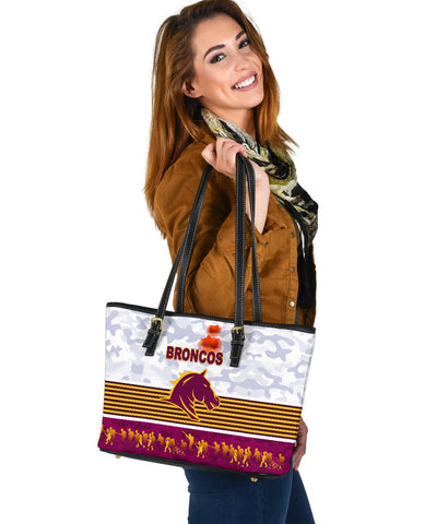 Brisbane Broncos Small Leather Tote Anzac Day Simple Style - White
