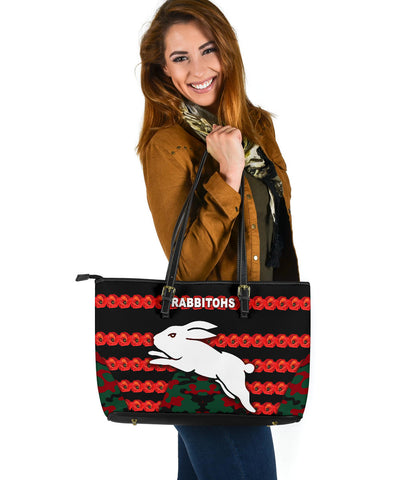 South Sydney Rabbitohs Large Leather Tote Anzac Day Poppy Flower Vibes