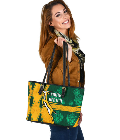 Image of South Africa Small Leather Tote Springboks Rugby Be Fancy