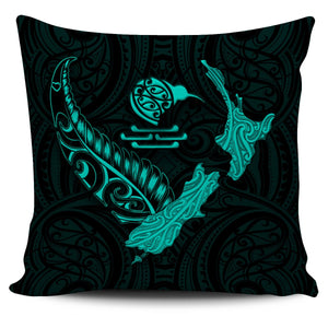 New Zealand Heart Pillow Cover - Map Kiwi mix Silver Fern Turquoise K4 - 1st New Zealand