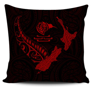 New Zealand Heart Pillow Cover - Map Kiwi mix Silver Fern Red K4 - 1st New Zealand
