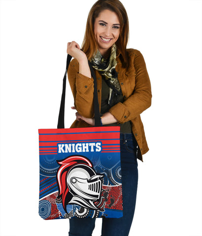 Knights Tote Bag Newcastle Aboriginal Horizontal Style