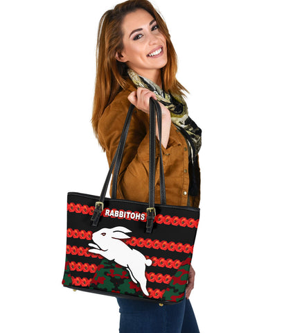 South Sydney Rabbitohs Small Leather Tote Anzac Day Poppy Flower Vibes