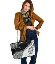 Load image into Gallery viewer, Paua Shell Maori Silver Fern Large Leather Tote White K5