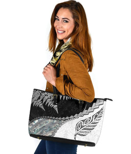 Paua Shell Maori Silver Fern Large Leather Tote White K5