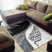 Load image into Gallery viewer, Paua Shell Maori Silver Fern Area Rug White K5