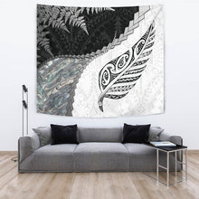 Load image into Gallery viewer, Paua Shell Maori Silver Fern Tapestry White K5