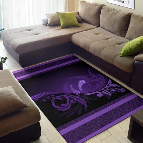 Purple Silver Fern Area Rug K44 - Love New Zealand