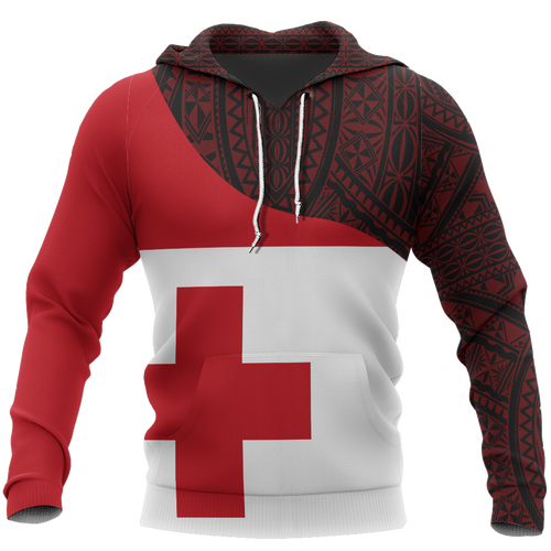 Tonga Flag Curve Concept Pullover Hoodie A0