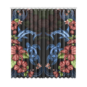 Turtle And Shark With Hibiscus Window Curtain ( Two Piece) TH5 - 1st New Zealand