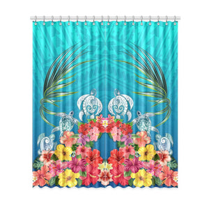 Three Turtle And Hibiscus Window Curtain( Two Piece) Turquoise TH5 - 1st New Zealand
