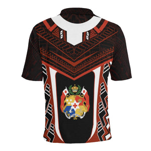 Tonga New Polynesian Style Polo - Red Color - Back