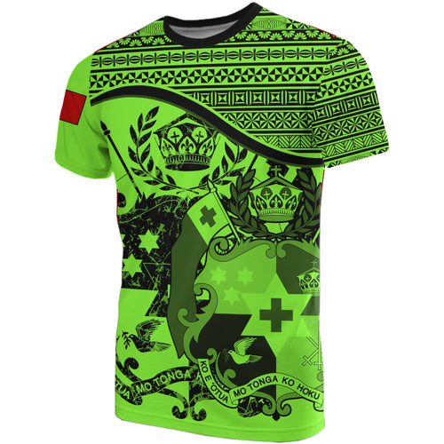Tonga Fluo Vert Coat Of Arms T-Shirt | High Quality | Hot Sale