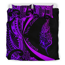 Load image into Gallery viewer, Light Silver Fern Maori Bedding Set Circle Style, Purple J95 - rugbylife.co