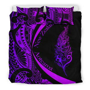 Light Silver Fern Maori Bedding Set Circle Style, Purple J95 - rugbylife.co