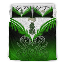 Load image into Gallery viewer, (Custom) Maori Manaia New Zealand Bedding Set Green Personal Signature K4 - rugbylife.co