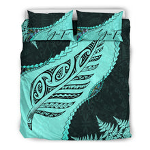 Load image into Gallery viewer, Signature Custom, Paua Shell Maori Silver Fern Bedding Set Turquoise K5 - rugbylife.co