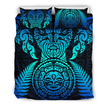 Load image into Gallery viewer, Maori Face Fern New Zealand Bedding Set Blue K4 - rugbylife.co