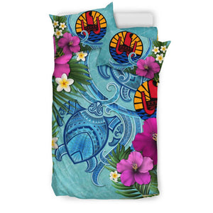 Tahiti Bedding Set - Polynesian Turtle Hibiscus And Plumeria  | Love The World