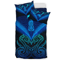 Load image into Gallery viewer, (Custom) Maori Manaia New Zealand Bedding Set Blue Personal Signature K4 - rugbylife.co