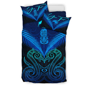 (Custom) Maori Manaia New Zealand Bedding Set Blue Personal Signature K4 - rugbylife.co
