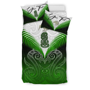 (Custom) Maori Manaia New Zealand Bedding Set Green Personal Signature K4 - rugbylife.co