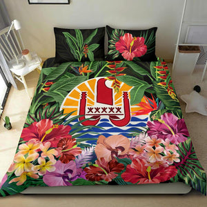Tahiti Bedding Set - Coat Of Arms Tropical Flowers And Banana Leaves | Love The World