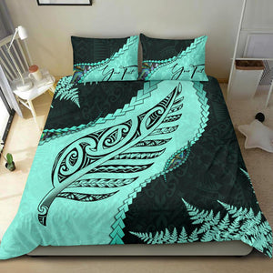 Signature Custom, Paua Shell Maori Silver Fern Bedding Set Turquoise K5 - rugbylife.co