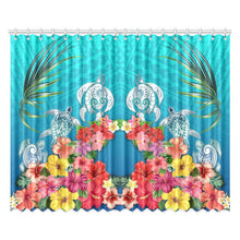 Load image into Gallery viewer, Three Turtle And Hibiscus Window Curtain( Two Piece) Blue