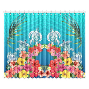 Three Turtle And Hibiscus Window Curtain( Two Piece) Blue