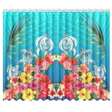 Load image into Gallery viewer, Three Turtle And Hibiscus Window Curtain( Two Piece) Turquoise TH5 - 1st New Zealand