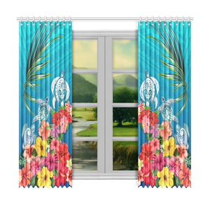 Three Turtle And Hibiscus Window Curtain( Two Piece) Blue TH5