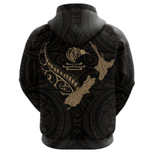 Load image into Gallery viewer, New Zealand Heart Zip Hoodie - Map Kiwi mix Silver Fern Gold K4 - 1st New Zealand