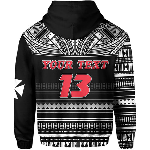 (Custom Personalised) Wallis and Futuna Rugby Zip Hoodie Polynesian Clever Black - Custom Text and Number Back | Rugbylife.co